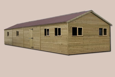 48' X 14' (14.5m x 4.2m) Loglap Apex Workshop