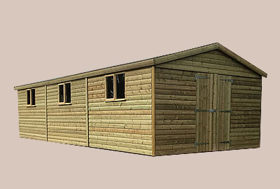 36' X 12' (10.9m x 3.6m) Shiplap Apex Workshop